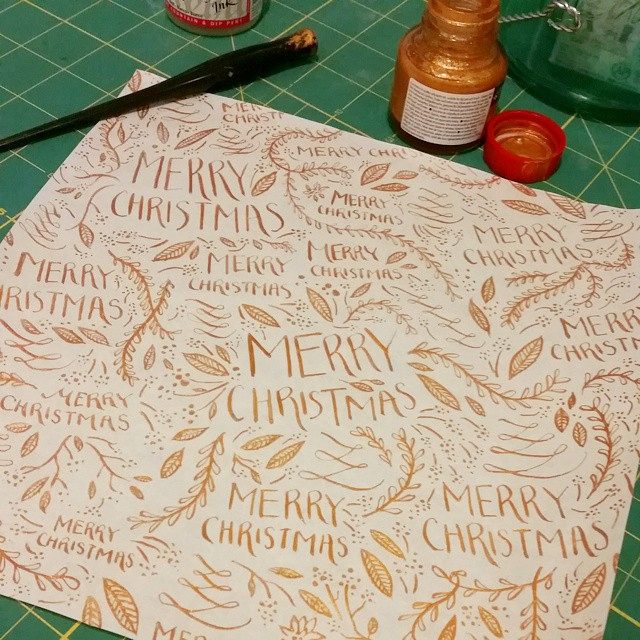 Hand done wrapping paper. Pretty much just doodles with gold ink. #christmasspirit #toocheaptobuyit