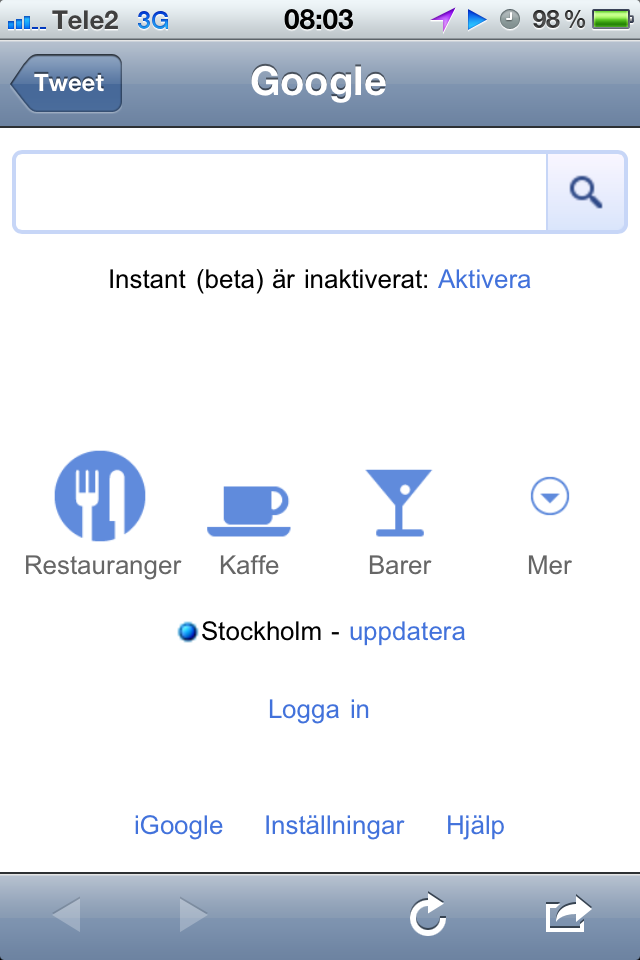 Google Mobile Start page