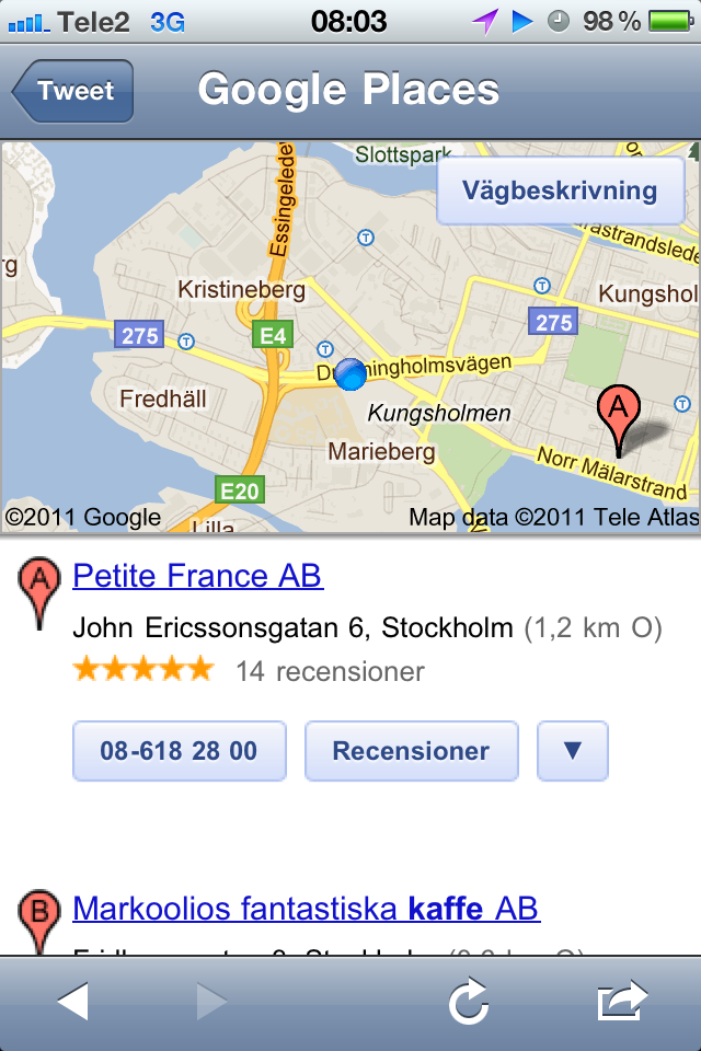 Google Mobile Location results list 1
