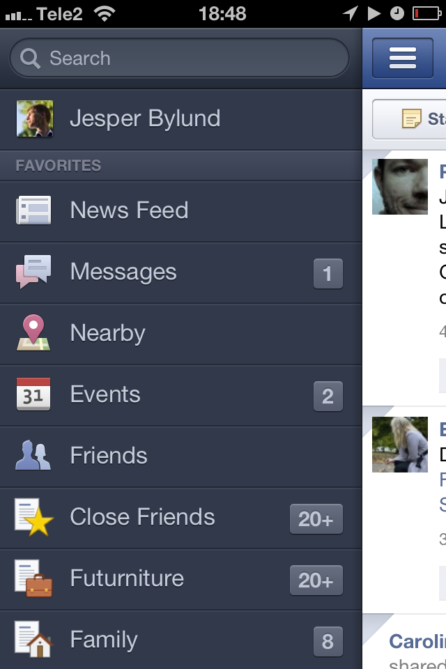 Facebook iPhone app menu