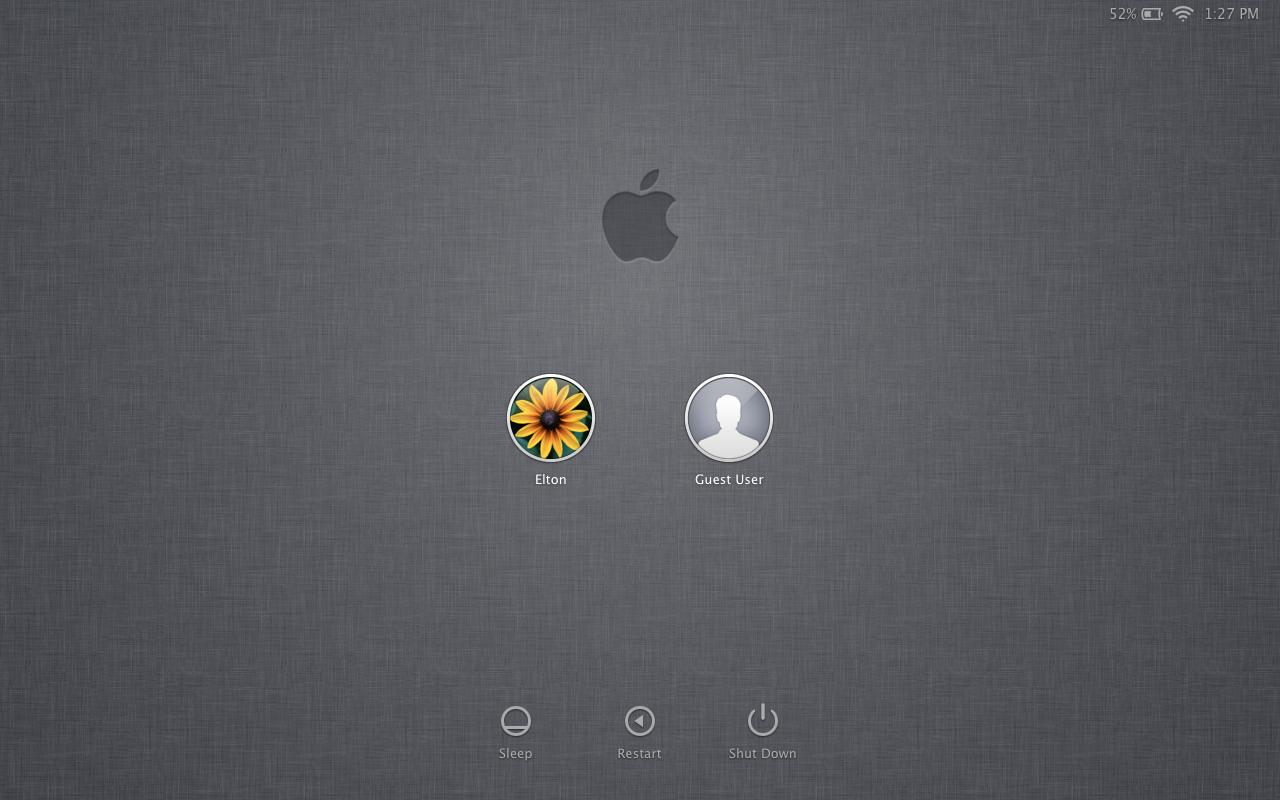 login screen OS X