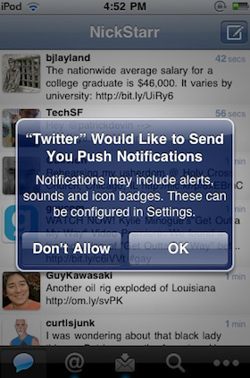 Push notification on an iPhone