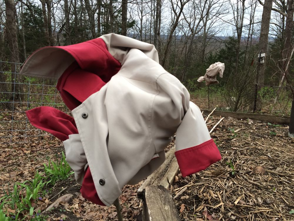 I used some of my lightweight jackets to cover flowering fruit trees to protect them from frost.