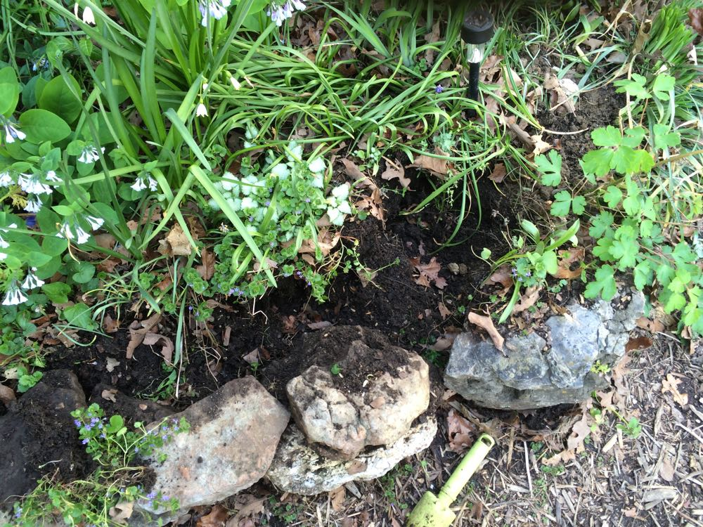 Rocks used as borders help break down soil for easier planting.