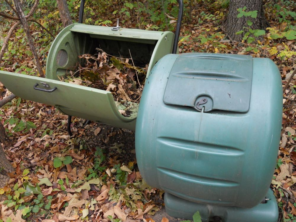 Composters make turning leaves into soil easy.
