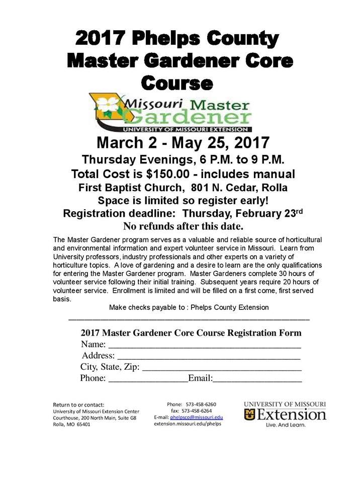 Print this form off and register for the spring 2017 core course to be a master gardener.