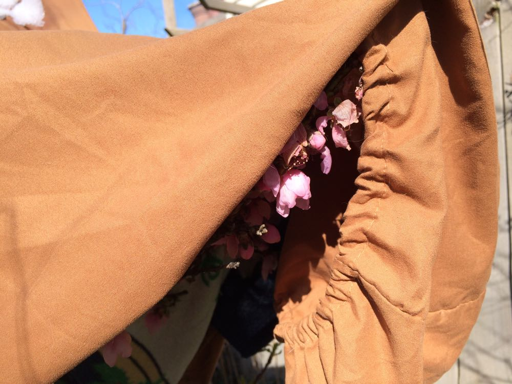 Flowering apricot blooms peek out from under sheets covering a light fleece blanket.