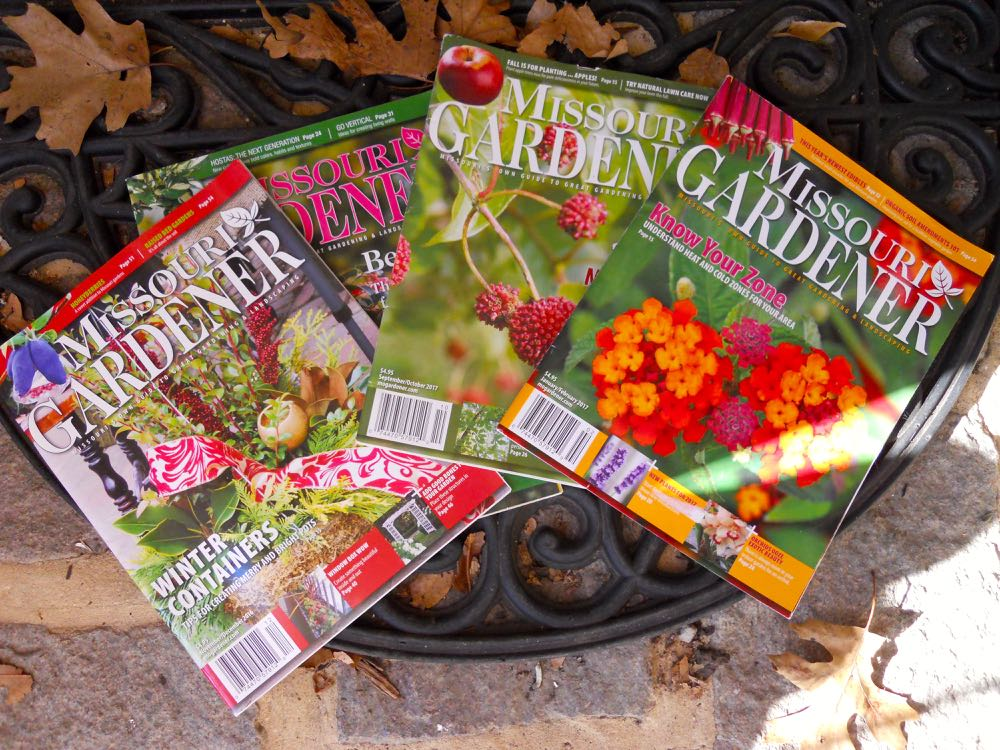 A sample of Missouri Gardener magazines, these are from my library, I use them for reference.