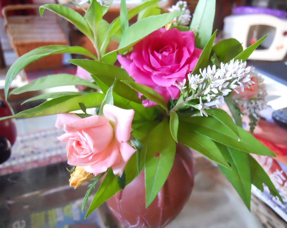 One of the many reasons I like miniature roses, they are a wonderful addition to desk vases.