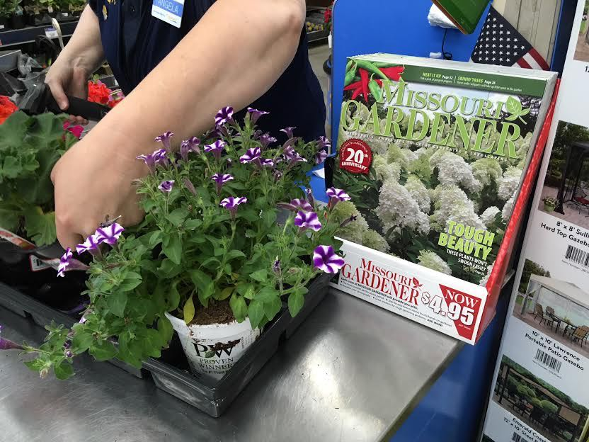 Missouri Gardener Magazine now available at Walmart Garden Center check out. (Photo by Charlotte Ekker Wiggins at Rolla, MO store.)