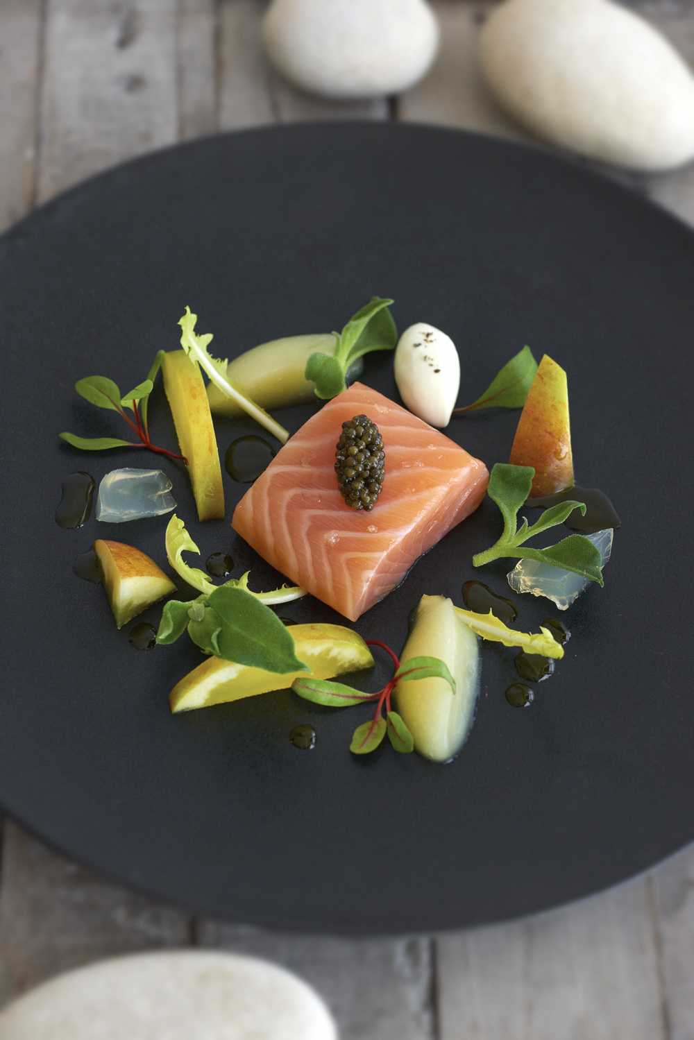 CONFIT OF SALMON, APPLE AND LEMON VERBENA  Photograph © Jean Cazals 2015.