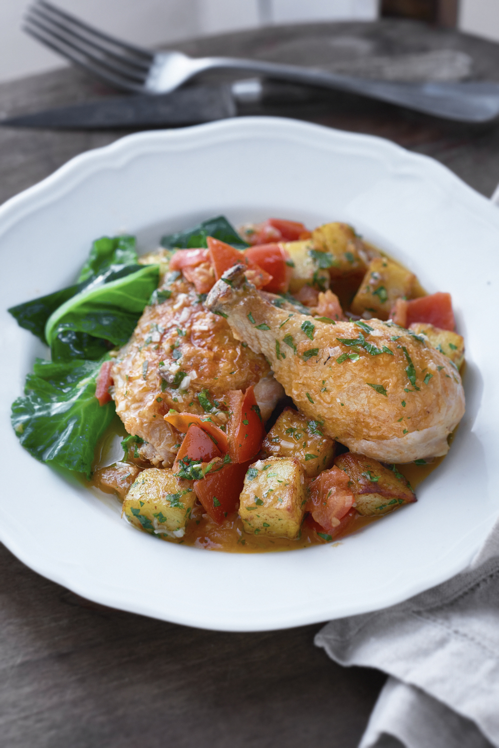 CHICKEN FRICASSÉE WITH VINEGAR & HERB  Photograph © Jean Cazals 2015.