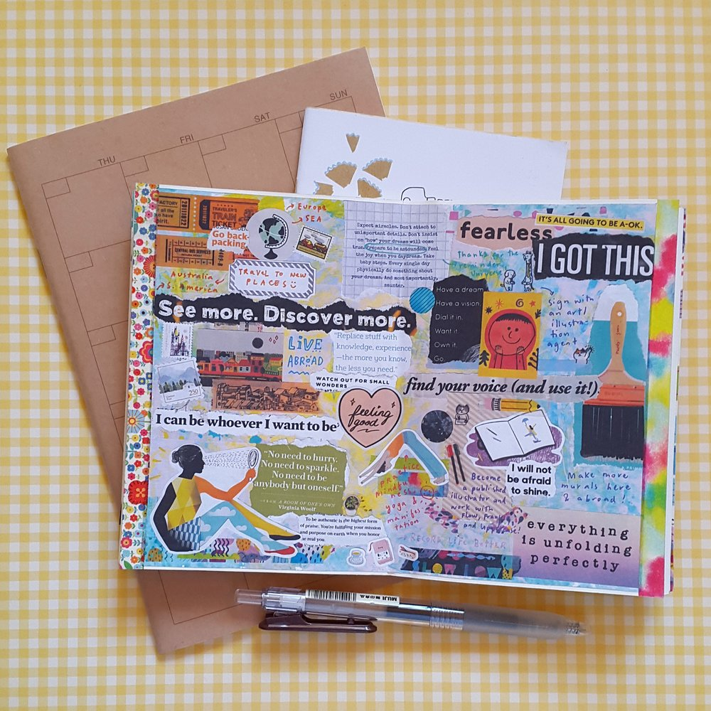 """I made my vision board on a 9x12in piece of cardstock. I scanned it and printed out a smaller copy that I stuck to my """"goals"""" notebook that I bring everywhere."""