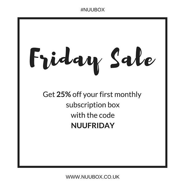 If you invest in anything this Friday invest in your wellbeing with a Nu U Box! Just enter the code at the checkout when you subscribe to a monthly box (you can cancel your subscription at any time) / #sale #discount #blackfriday #flashsale #fridays #wellness #subscriptionbox #healthysnacks #naturalbeauty #wellbeing