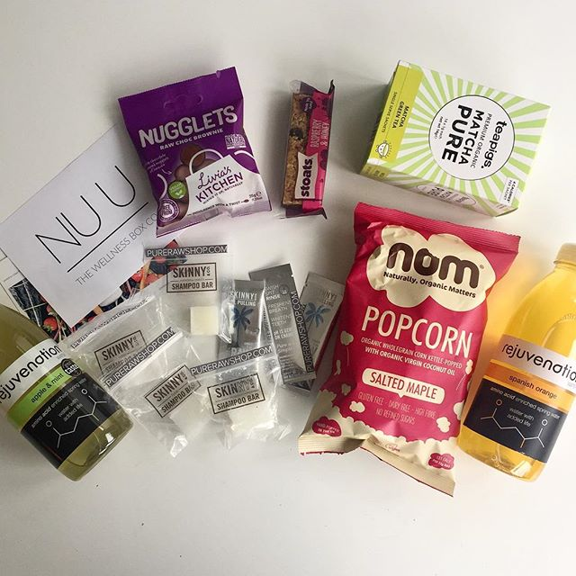 All the goodies in Aprils box #nuubox #wellnessboxco #healthysnacks #cleanbeauty