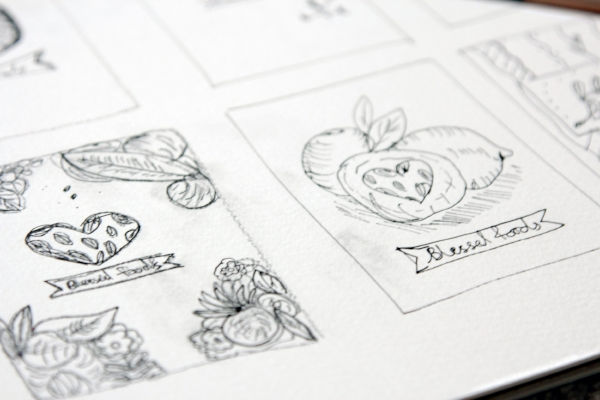 Sketches, part of my design process for the Blessed Foods logo design. Check it out in my Work.