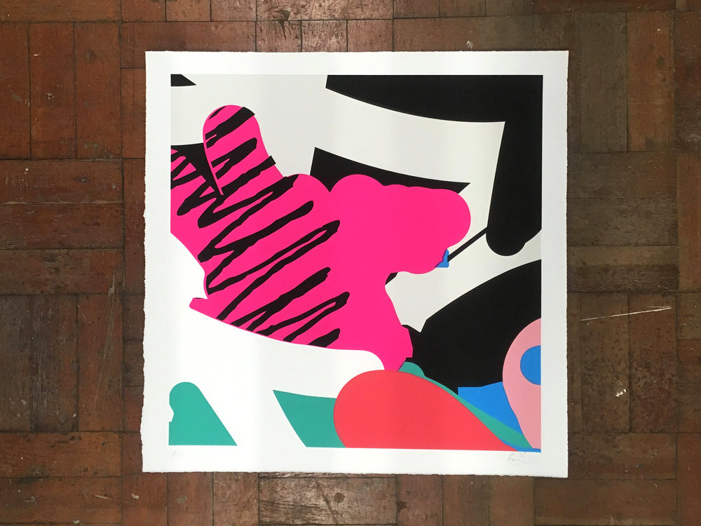 Client - Andy Welland - Loose Ends 08   7 colour hand-pulled screenprint  300gsm Imperial Somerset Satin White stock Hand-torn decal edge 700 x 700mm (art size: 620 x 620mm)  Signed and numbered (front) Edition of 20  Available to buy   here  .