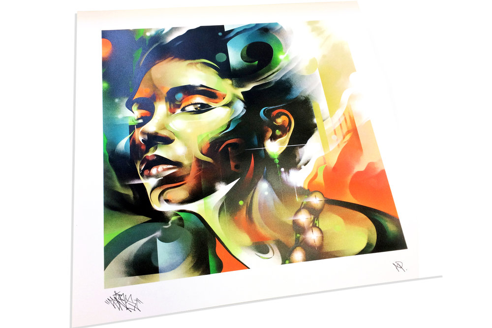 Client - Edition Fifty / Artwork - Mr.Cenz.   Eight colour screen print including metallic gold, fluro and spot gloss layers.  Printed onto 270gsm Mohawk options superfine archival stock.  Available to buy   here  .