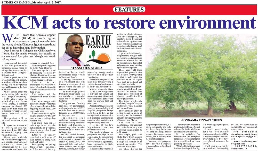 Times of Zambia Report April 3rd 2017