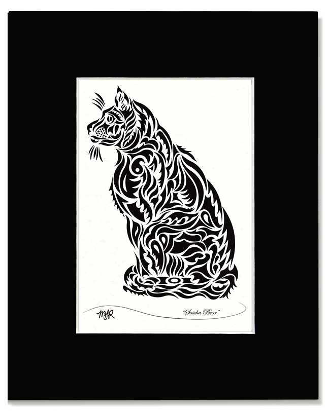Sascha Bear -Abstract, Tribal Cat Art Print