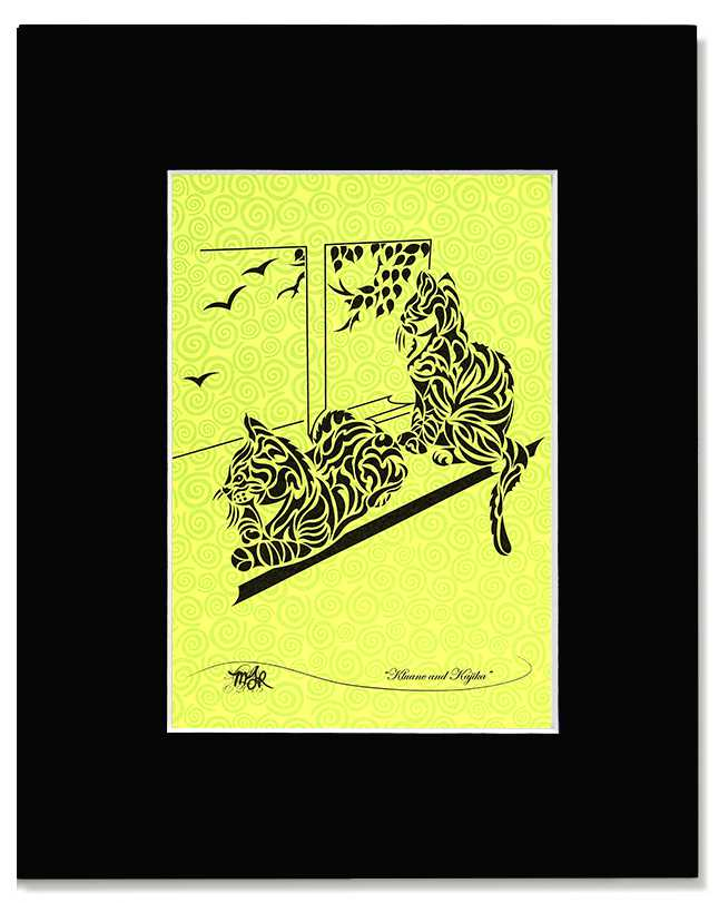 Kluane & Kajika -Abstract, Tribal Cat Art Print