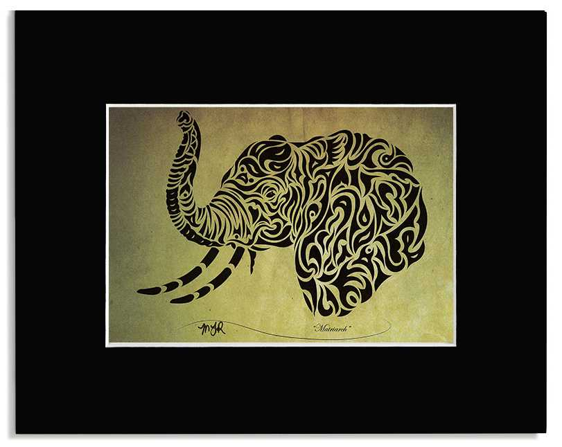 Matriarch - Abstract, Tribal Elephant Art Print