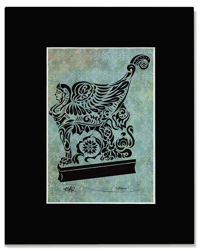 Sphynx - Abstract, Tribal Winged Sphynx Art Print