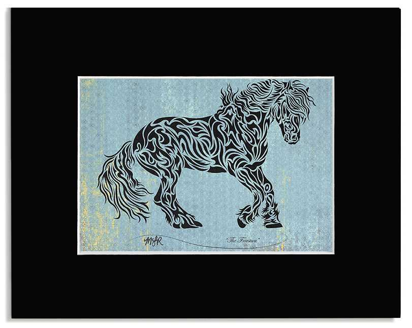 The Friesian - Abstract, Tribal Horse Art Print