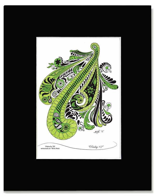 Paisley #2 - Original Black and Green Fanciful Art Print