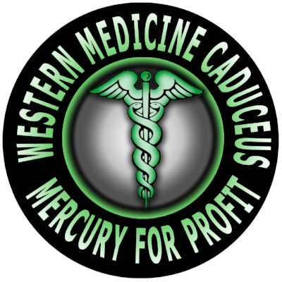 This symbol means poison as medicine, mercury for profit, and is a commonly used symbol of the healthcare industry. They tell us right up front to be wary of their medicines.
