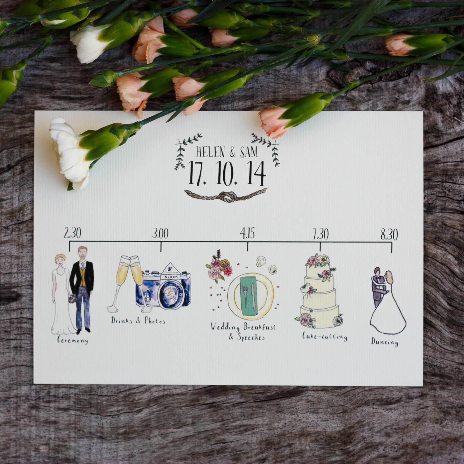 Bespoke illustrated wedding schedule wildflower illustration co bespoke illustrated wedding schedule junglespirit Images