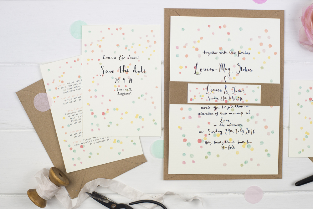 Bespoke \'Confetti\' Wedding Invitation — Wildflower Illustration Co.