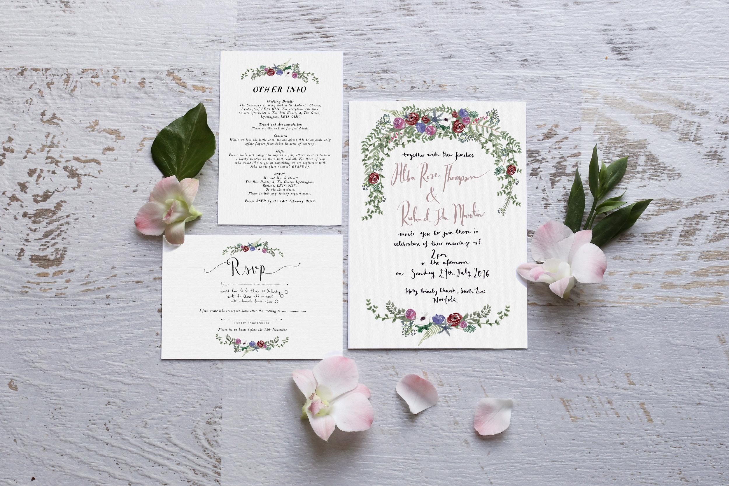 Bespoke \'Alba\' Wedding Invitation — Wildflower Illustration Co.