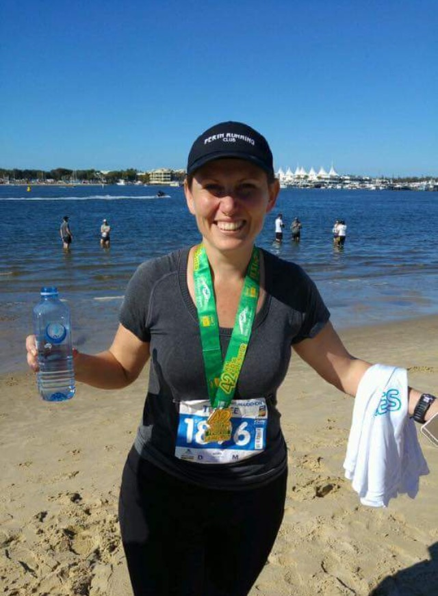 """Trace after she completer her second marathon this year: """" Made it - one of the happiest gals in QLD today. Congrats to all out on the course but particularly the PRC buds - well done."""""""