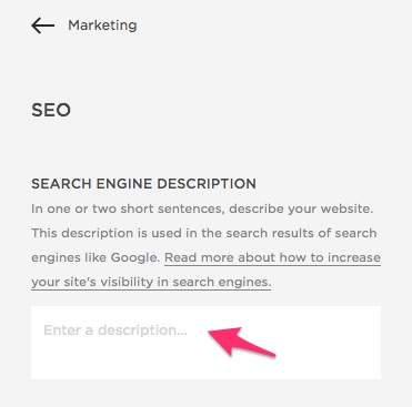 search engine description Squarespace