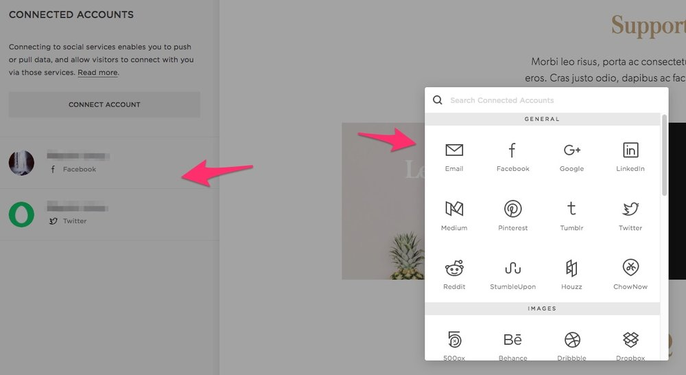 add social media to squarespace