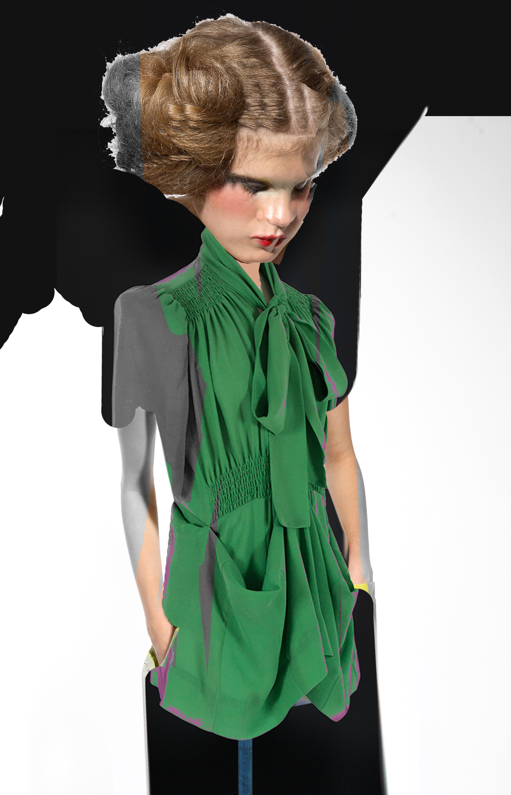 DRESS label INTO COLOUR SS16 collection: PAINTBOX DOLL wears02 BRIGHT GREEN/ Short Sleeve, Adaptor Blouse/Knee length Dress