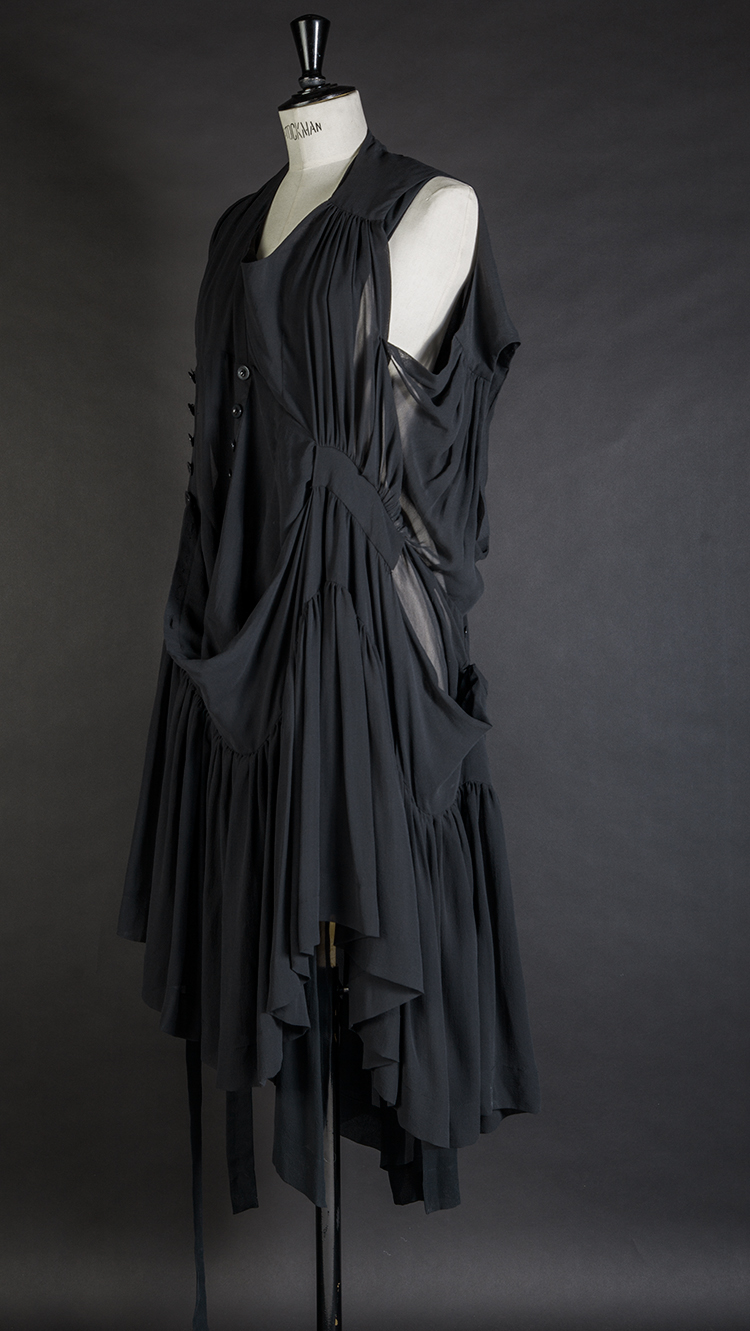 DRESS ltd BLACK DRESS MUSEUM Silk Georgette Multi Frill Twisted Peasant Dress