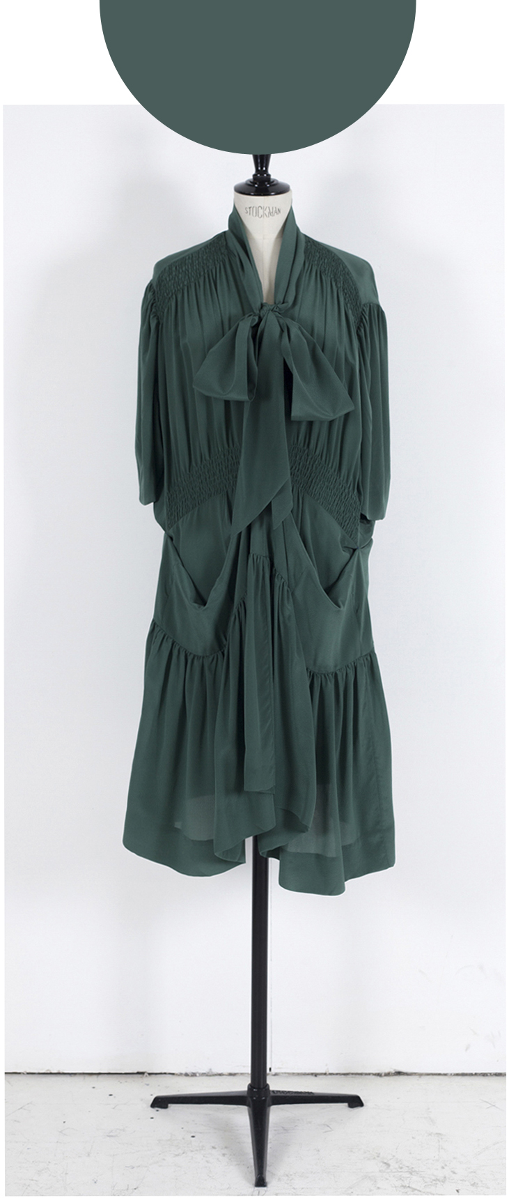 03B MID GREEN/ Short Sleeve Pull up Midi/Maxi Adjustor Dress