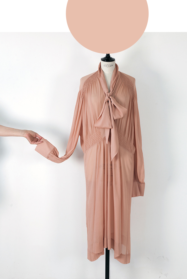 03D APRICOT/ Long Sleeve Midi Dress