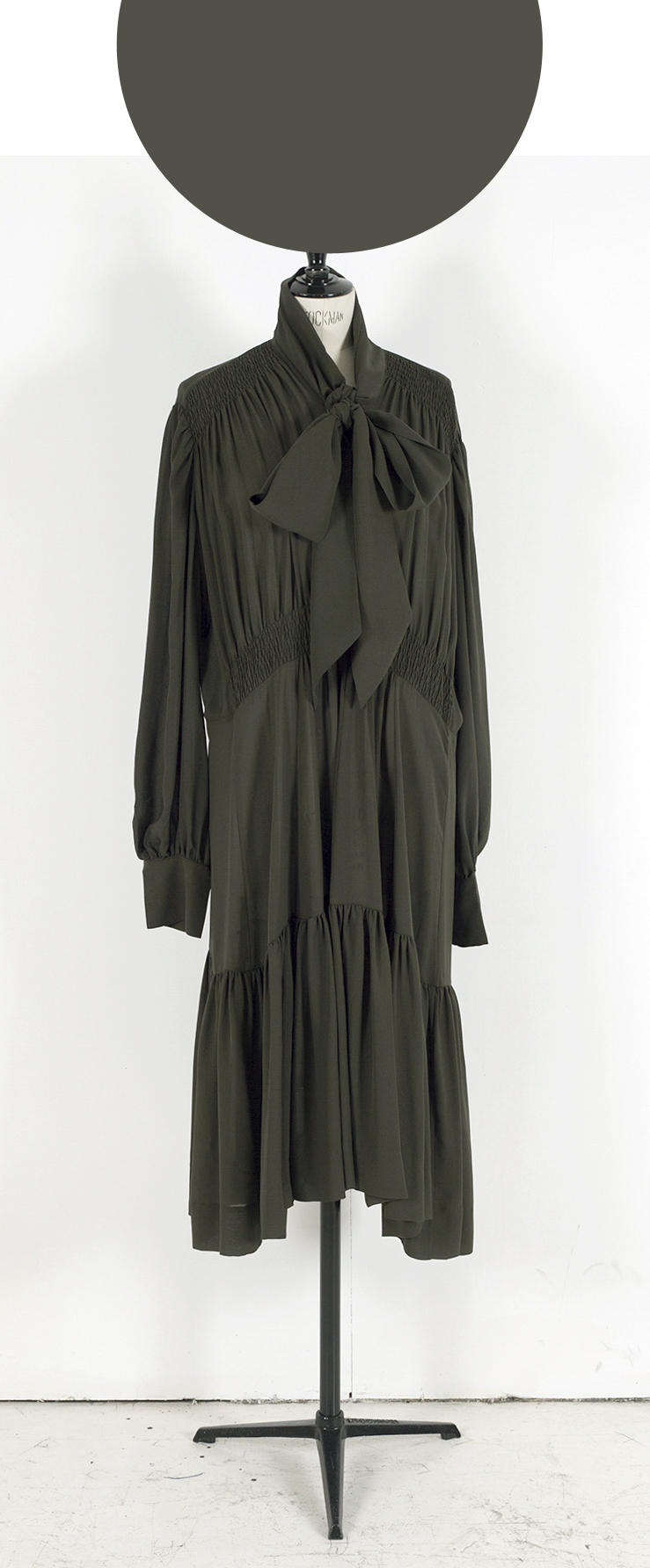 03D DARK OLIVE/ Long Puff Sleeve Frill Hem Midi Dress