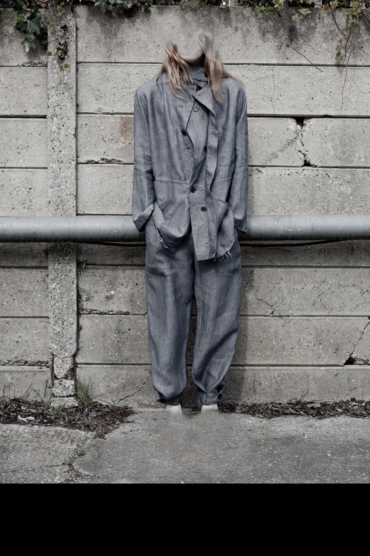 DRESS label Crisis Collection 2017 Haunted Blue Herringbone Split Overall Set dress-ltd