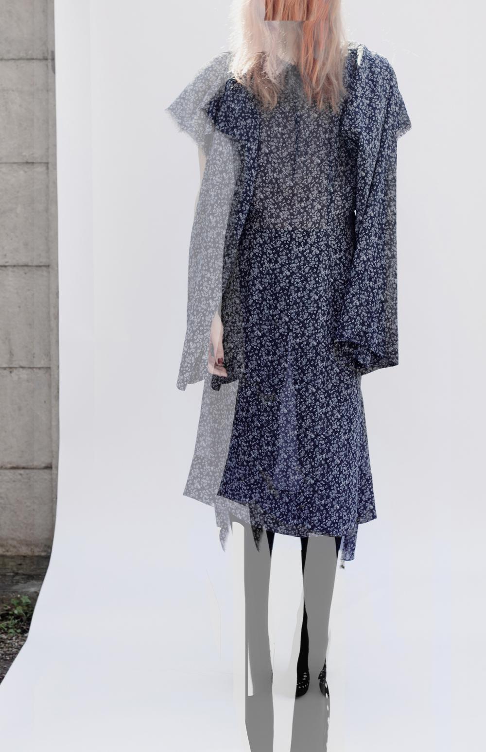 DRESS label Crisis Collection 2017  03) Emerging/disappearing Structure Dress/Set  Navy Blue Print Dress-Ltd