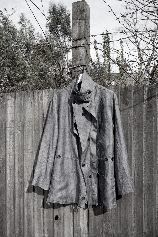 DRESS label Crisis Collection 2017 Look book Blue Herringbone  Split & feminised Overall Jacket  Dress-Ltd
