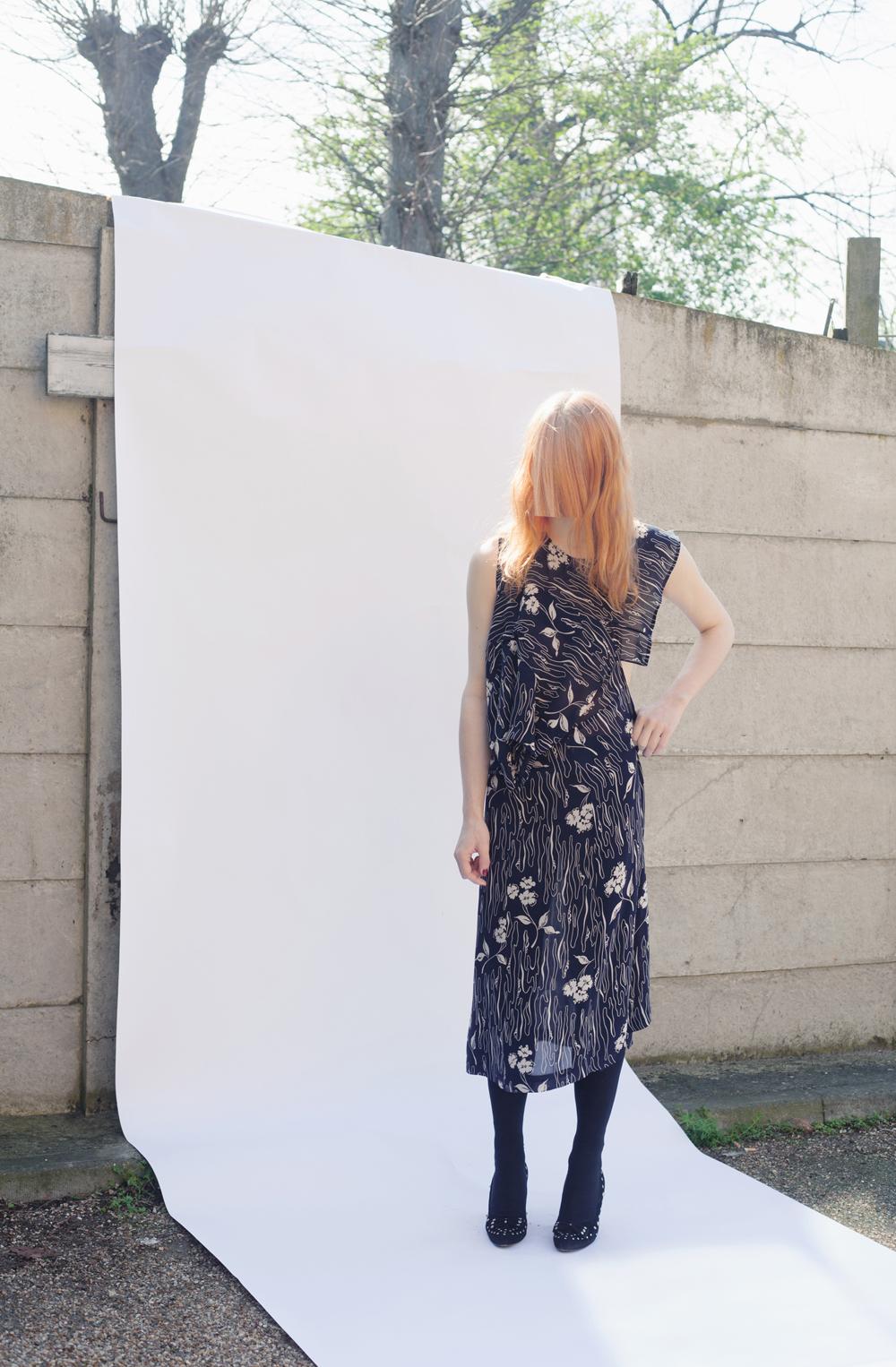 DRESS label Crisis Collection Look book Pixelated ARTISANAL RESCUE DRESS SERIES  Rescue Dress 01  – Navy & White Viscose Flower Print Dress-Ltd