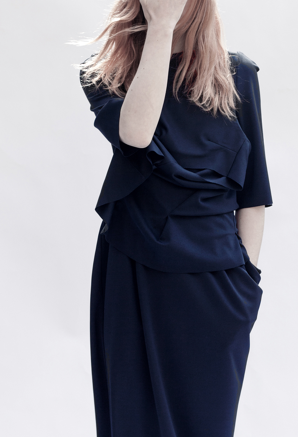 DRESS label Crisis Collection 2017 Look book Navy Blouse Polyester  Short Sleeved Sculpted Asymmetric Collapse/Support Dress with pocket  Dress-Ltd