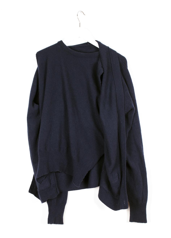 DRESS label Crisis Collection 2017 Look book Navy Blue Reconfigured Knitwear Inbuilt Twinset Product Shot Dress-Ltd