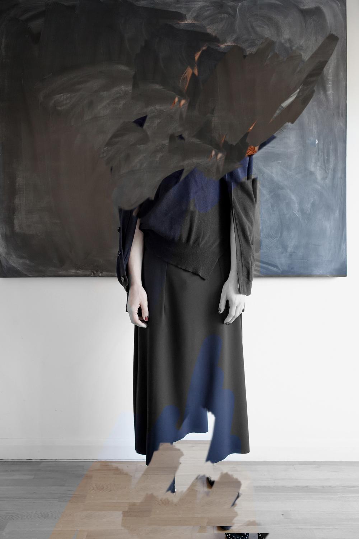 DRESS label Crisis Collection 2017 Look book Reconfigured Knitwear Navy Inbuilt Twinset, being erased stage 2 Dress-Ltd