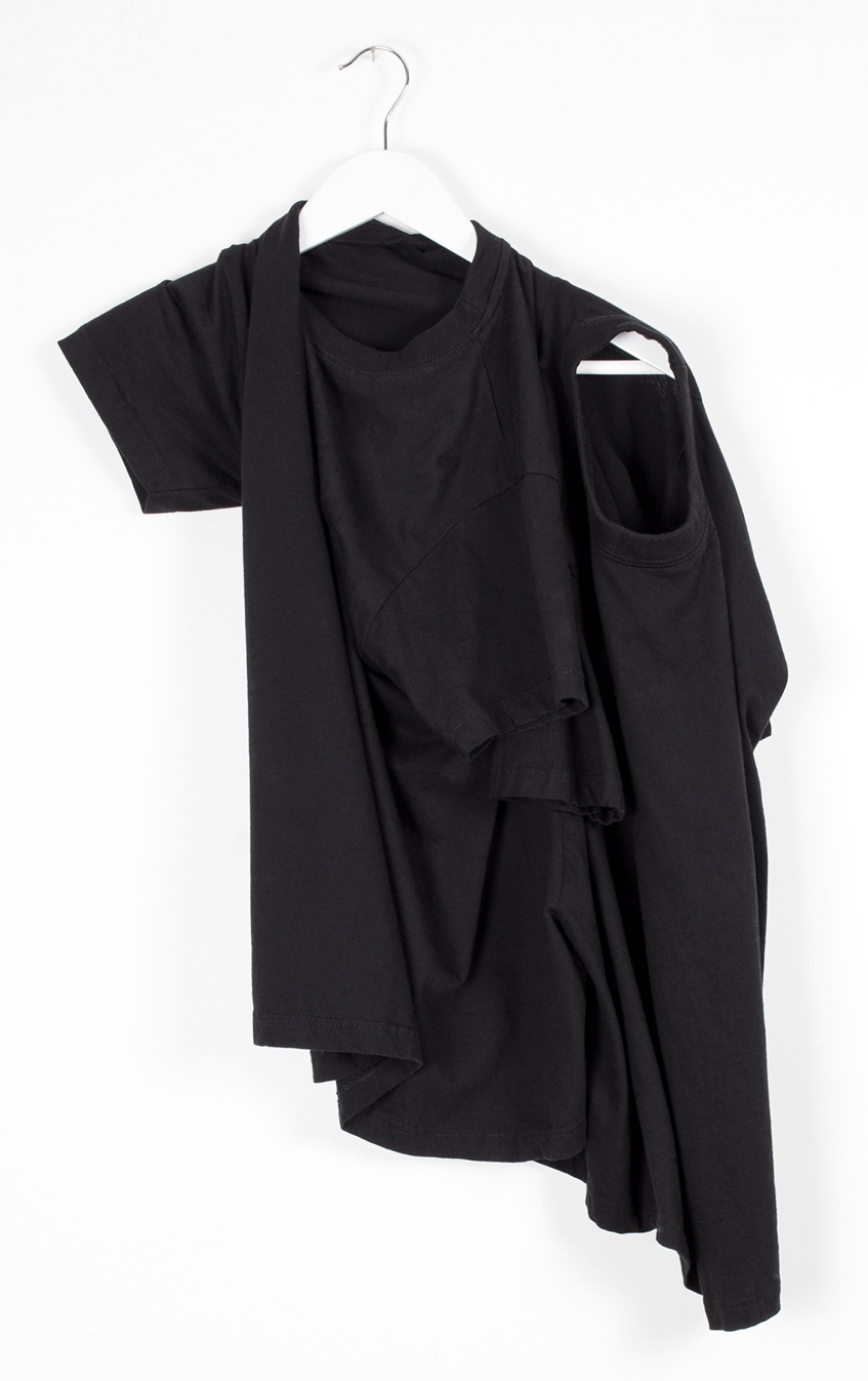 DRESS label Crisis Collection 2017 Look book Black  Co-dependent T  2 T shirts cut together so they cannot be separated, only rotated for alternative use of head and arm hole, to create different shapes. Dress-Ltd