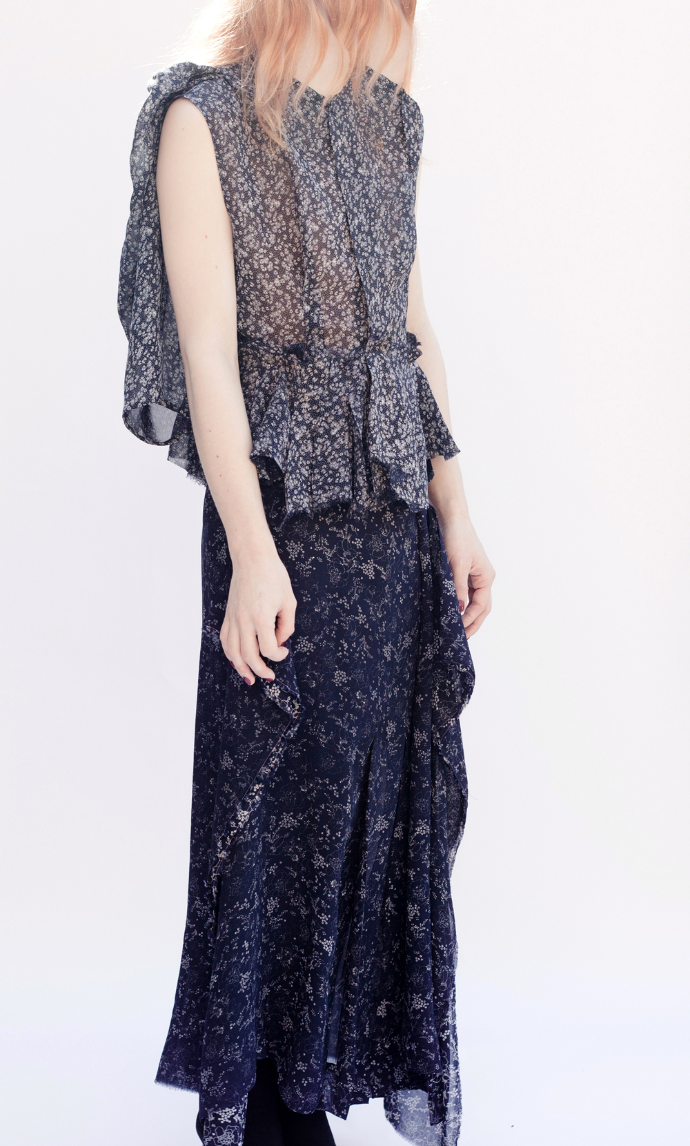 DRESS-ltd NAVY PRINT REMNANT Broken Dress Jacket & Inside Out Emerging Skirt, worn sleeveless